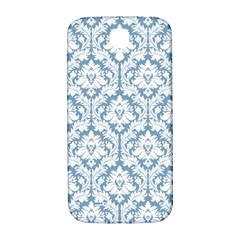 White On Light Blue Damask Samsung Galaxy S4 I9500/i9505  Hardshell Back Case