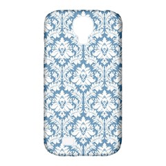 White On Light Blue Damask Samsung Galaxy S4 Classic Hardshell Case (pc+silicone)