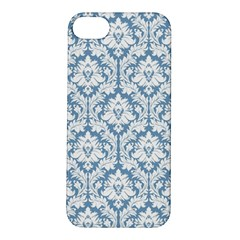 White On Light Blue Damask Apple Iphone 5s Hardshell Case
