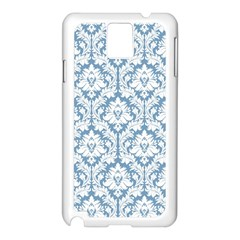 White On Light Blue Damask Samsung Galaxy Note 3 N9005 Case (white)