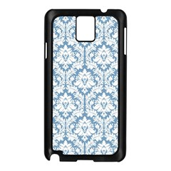 White On Light Blue Damask Samsung Galaxy Note 3 N9005 Case (black)