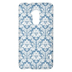 White On Light Blue Damask HTC One Max (T6) Hardshell Case