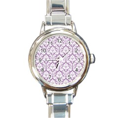 White On Lilac Damask Round Italian Charm Watch