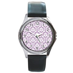 White On Lilac Damask Round Leather Watch (Silver Rim)