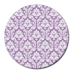 White On Lilac Damask 8  Mouse Pad (Round)