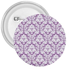 White On Lilac Damask 3  Button