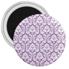 White On Lilac Damask 3  Button Magnet
