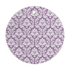 White On Lilac Damask Round Ornament