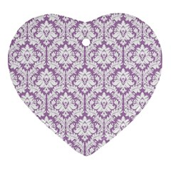 White On Lilac Damask Heart Ornament