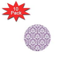 White On Lilac Damask 1  Mini Button (10 pack)