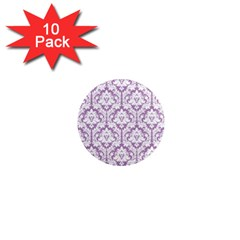 White On Lilac Damask 1  Mini Button Magnet (10 pack)