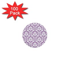 White On Lilac Damask 1  Mini Button (100 Pack)