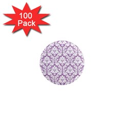 White On Lilac Damask 1  Mini Button Magnet (100 pack)