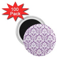White On Lilac Damask 1.75  Button Magnet (100 pack)