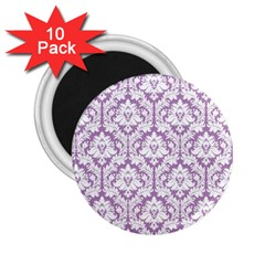White On Lilac Damask 2 25  Button Magnet (10 Pack)