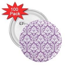 White On Lilac Damask 2.25  Button (100 pack)