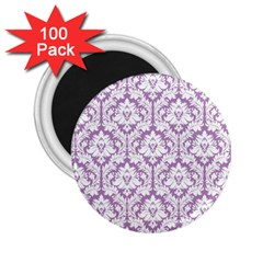 White On Lilac Damask 2 25  Button Magnet (100 Pack)