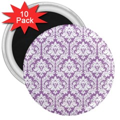 White On Lilac Damask 3  Button Magnet (10 pack)