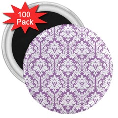 White On Lilac Damask 3  Button Magnet (100 pack)