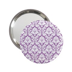 White On Lilac Damask Handbag Mirror (2 25 )