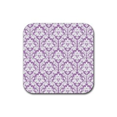 White On Lilac Damask Drink Coasters 4 Pack (square)