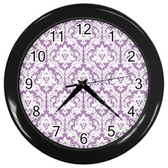 White On Lilac Damask Wall Clock (Black)