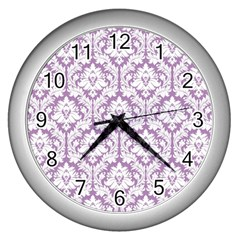White On Lilac Damask Wall Clock (Silver)