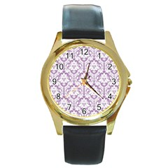 White On Lilac Damask Round Leather Watch (gold Rim)