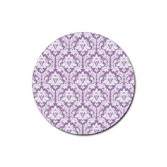 White On Lilac Damask Drink Coaster (Round)