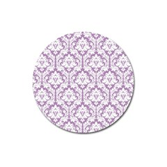 White On Lilac Damask Magnet 3  (Round)