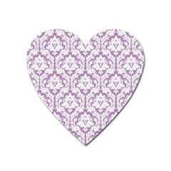 White On Lilac Damask Magnet (Heart)