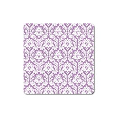 White On Lilac Damask Magnet (square)