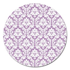White On Lilac Damask Magnet 5  (round)