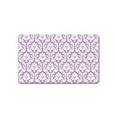 White On Lilac Damask Magnet (Name Card)