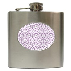 White On Lilac Damask Hip Flask