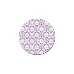 White On Lilac Damask Golf Ball Marker