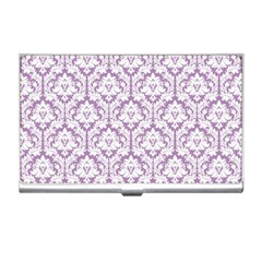 White On Lilac Damask Business Card Holder
