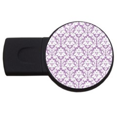 White On Lilac Damask 2gb Usb Flash Drive (round)