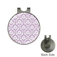 White On Lilac Damask Hat Clip With Golf Ball Marker