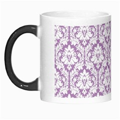 White On Lilac Damask Morph Mug