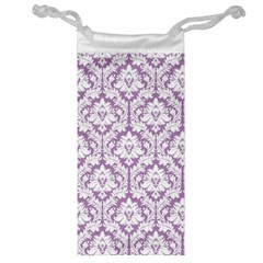 White On Lilac Damask Jewelry Bag