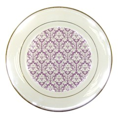 White On Lilac Damask Porcelain Display Plate