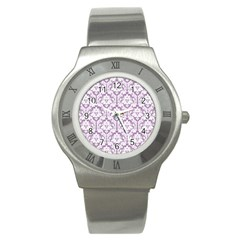White On Lilac Damask Stainless Steel Watch (Slim)