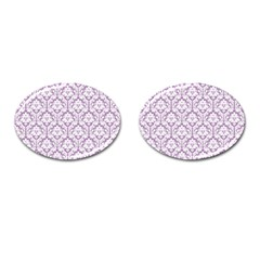 White On Lilac Damask Cufflinks (Oval)