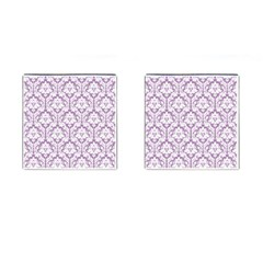 White On Lilac Damask Cufflinks (square)