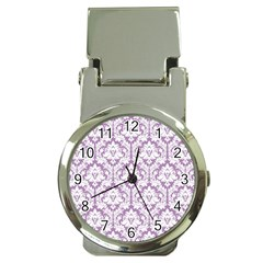 White On Lilac Damask Money Clip with Watch