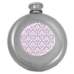 White On Lilac Damask Hip Flask (Round)