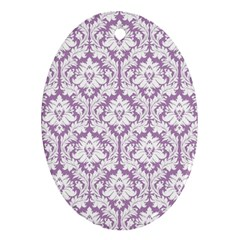 White On Lilac Damask Oval Ornament (Two Sides)