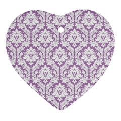 White On Lilac Damask Heart Ornament (Two Sides)