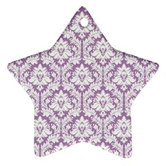 White On Lilac Damask Star Ornament (two Sides)